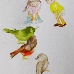 いわさきちひろ『3羽の小鳥とこども』『黄色い傘の少女』