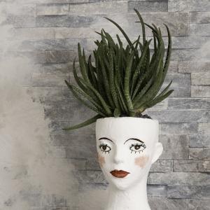 ダイソーのヘッドマネキンにパテを使って植木鉢にリメイク♪