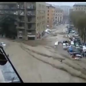 中国の洪水。