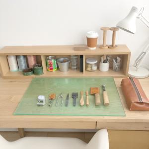 レザークラフト私の作業机と工具