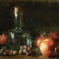 「台の上のガラス瓶とざくろ」