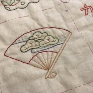 お正月の刺繍   扇