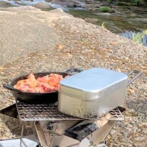 五頭山麓いこいの森キャンプめし①<ケイジャンスパイスで簡単サイコロステーキ><メスティンでごはん>