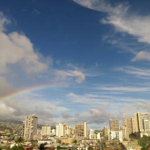 ハワイ、ダブルレインボーと満月と。。こころの癒しタイムを