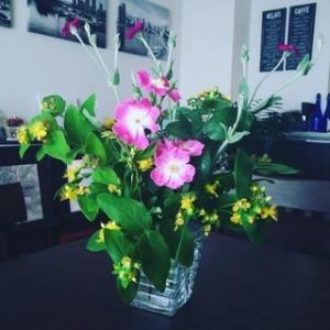 今日のお花『つるバラ、金糸梅、フランネル草』