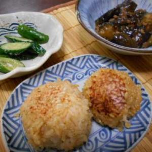 焼きおにぎりの朝ご飯(じいちゃんの料理)