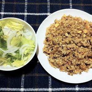 昨日はひき肉チャーハンとたまねぎサラダを食べました。