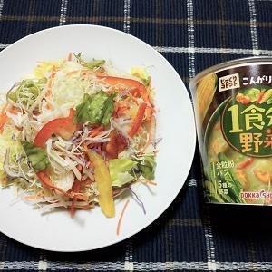 大盛り野菜の豆腐サラダと野菜スープを食べました。