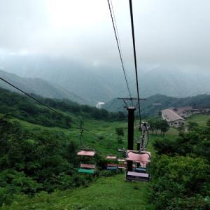 『  谷川岳は雄大だ。昇る登る。 頂上は涼しくて霧で覆われていたが。』