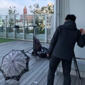 「日傘の撮影」