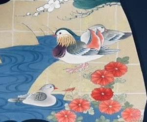 「オシドリ模様の日傘」
