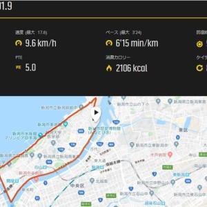 10月13日 新潟シティマラソン中止。代わりに14日30km走