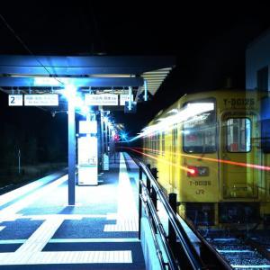 深夜の立野駅にやってきたキハ125