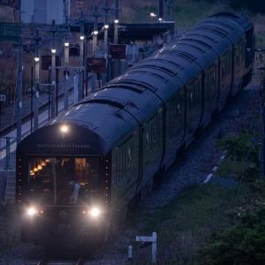 早朝の立野駅にてななつ星を撮る