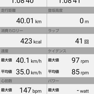 【BIKE:ローラー台≒40km~ベストタイム 1時間8分41秒】