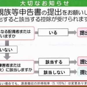年金 ~ 扶養親族申告書 (2019年10月)