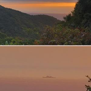 月曜朝の出勤前に朝陽に染まる海を見て・・・・。