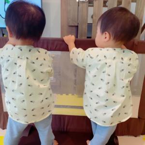 【洋裁】写真を撮るのが大変な双子のマイナンバーカード申請と双子のスタンドカラーシャツ。