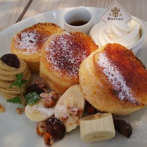 「Butter」焦がしキャラメリゼのパリふわスフレパンケーキ~マロンクリーム添え~