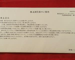 【株主優待(2020年3月権利確定)】ヴィア・ホールディングス(東1・7918) ~株主割引券(10,000円相当)~