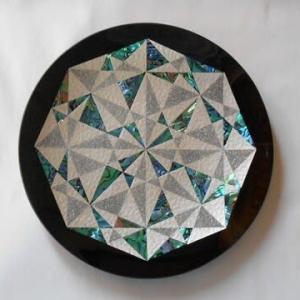 幾何学の金彩ガラス皿
