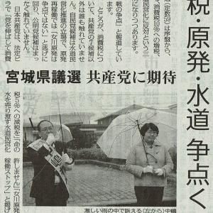 #akahata 消費税・原発・水道 争点くっきり/宮城県議選 共産党に期待・・・今日の赤旗記事