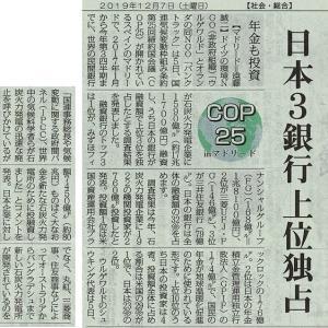 #akahata 日本3銀行 上位独占 年金も投資/石炭火力発電企業に融資 COP25inマドリード・・・今日の赤旗記事