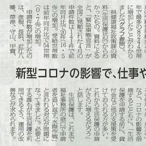 生活保護申請が増加/新型コロナの影響で、仕事や住居を失う・・・滋賀民報記事