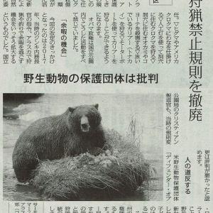 米 狩猟禁止規則を撤廃/アラスカ州の国立自然保護区 野生動物の保護団体は批判・・・今日の赤旗記事