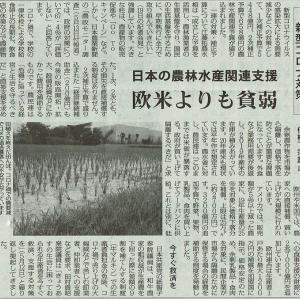 新型コロナ対策 欧米より貧弱/日本の農林水産関連支援・・・今日の赤旗記事