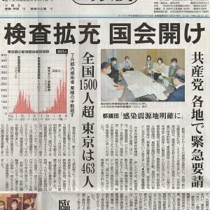 検査拡充 国会開け 共産党 各地で緊急要請/全国1500人超 東京は463人・・・今日の赤旗記事