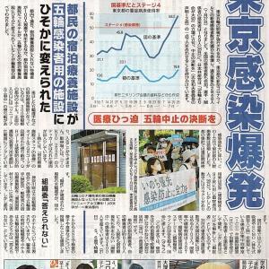 東京感染爆発 五輪関係者も陽性次々/都民の宿泊療養施設が五輪感染者用施設にひそかに変えられた 組織委「答えられない」・・・「赤旗」日曜版記事