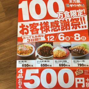 「かつや」4品限定500円でした。