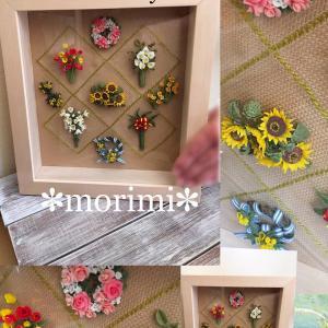 ミニチュア粘土作品完成♪ morimi 様の【お花の額】