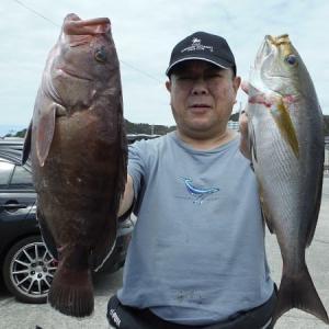 千葉県・江見沖のイサキ五目釣り。