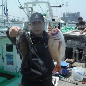 千葉・飯岡沖の花鯛五目釣り。