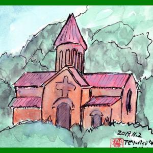 コーカサス三ヵ国旅行(18)アゼルバイジャン 国境近く街道脇の丘の上の教会