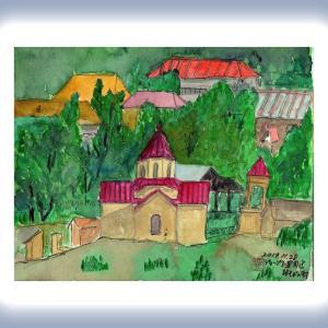 コーカサス三ヵ国旅行(27)ジョージア軍用道路脇の村の教会