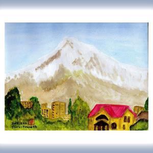 コーカサス三ヵ国旅行(35)アルメニアの首都エレバンのホテル近くからのアララット山