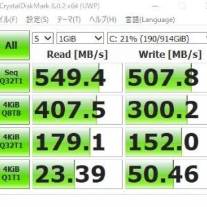 Crystal Disk MarkでSSDのテスト