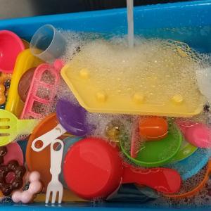 おもちゃを洗いました。