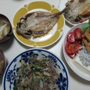 9/27アジの開きと、牛肉と葱の炒め物で夕ご飯