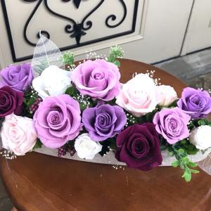 紫の薔薇のお供えアレンジ