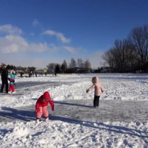 凍った池でスケート