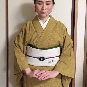 【着物コーデ】会津木綿にクロスステッチの作り帯(ふくふく市オープンDAY)