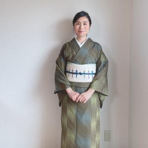【着物コーディネート】単衣の紬とパラソル帯で日本茶カフェとライブ配信
