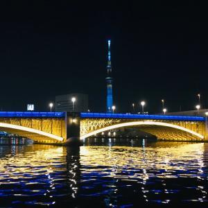 吾妻橋往復ラン 蔵前橋のライトアップが良い感じ🌟