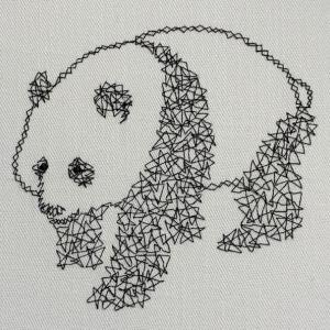 パンダのクモの巣刺繍マスク♪
