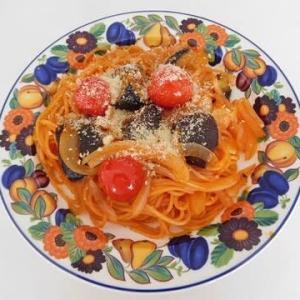 お昼は揚げ茄子とミニトマトのパスタ・・・🍝