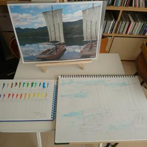 透明水彩画「水」(道具購入~お試し編)~大野洋平先生絵画教室@いの町CafeClef(カフェ・クレフ)